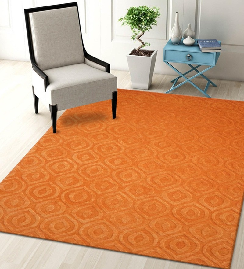 Orange Blended Wool 60 x 96 Inch Trendz Design High Low Texture Hand Carving Tufted Carpet by Designs View