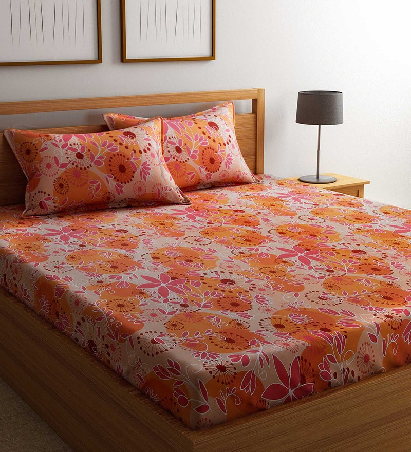Orange Cotton 88 x 95 Inch Exclusive Bedsheet - Set of 3 by Raymond Home