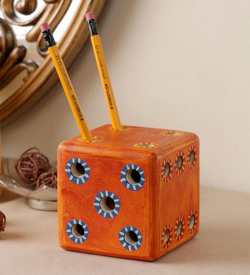Orange Engineered Wood Handmade Dice Pen Stand by VarEesha