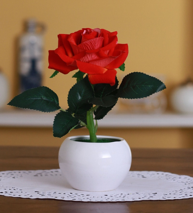 Red Polyester Artificial Velvet Rose in a Ceramic Vase by Fourwalls