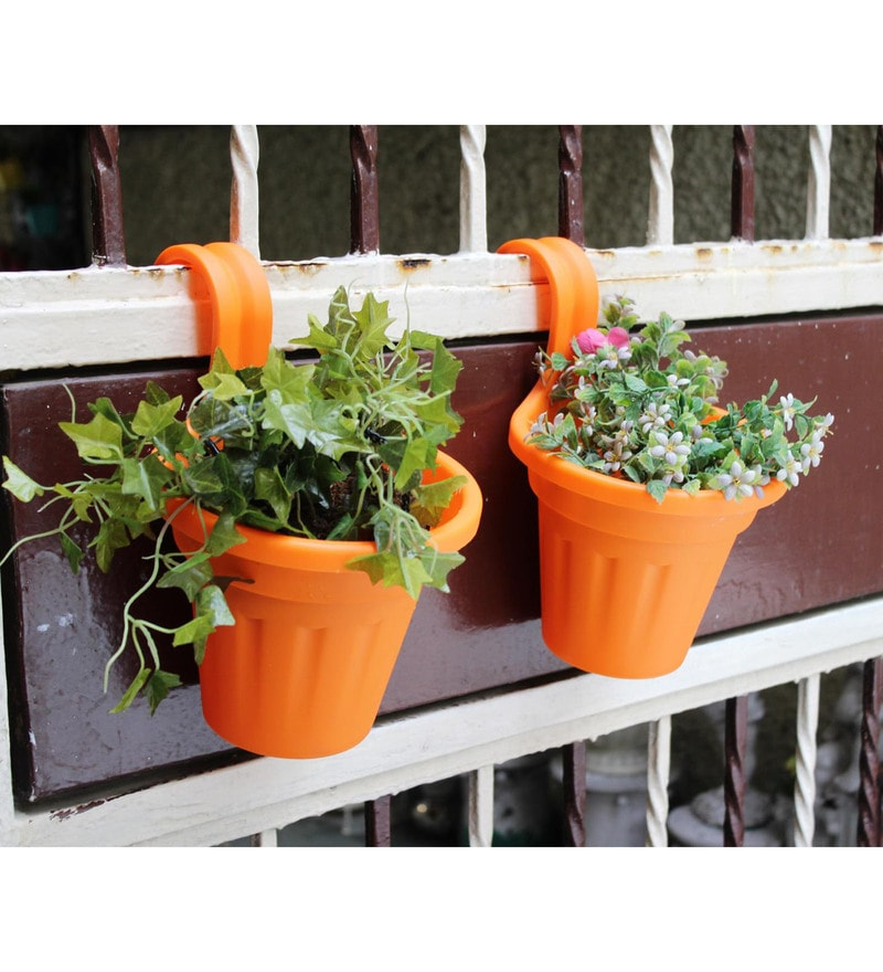 Orange PVC Rail Planters by Wonderland - Set of 2