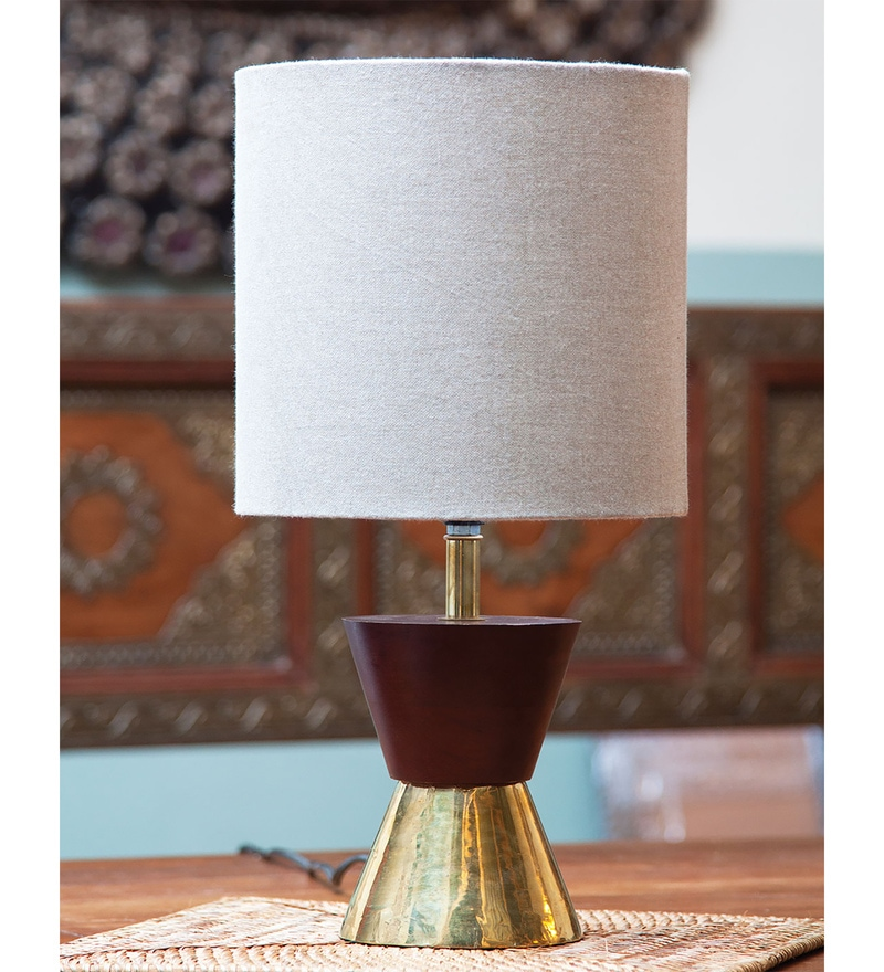 Brown Linen Dumoo Table Lamp by Orange Tree