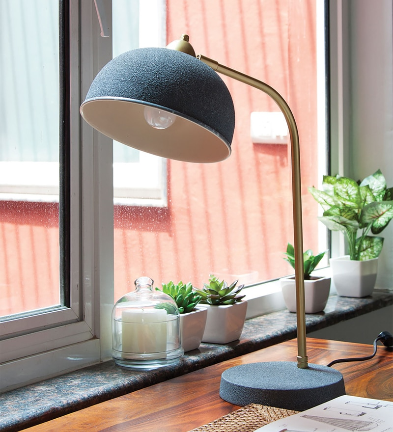 Grey Iron Gizi Study Table Lamp by Orange Tree
