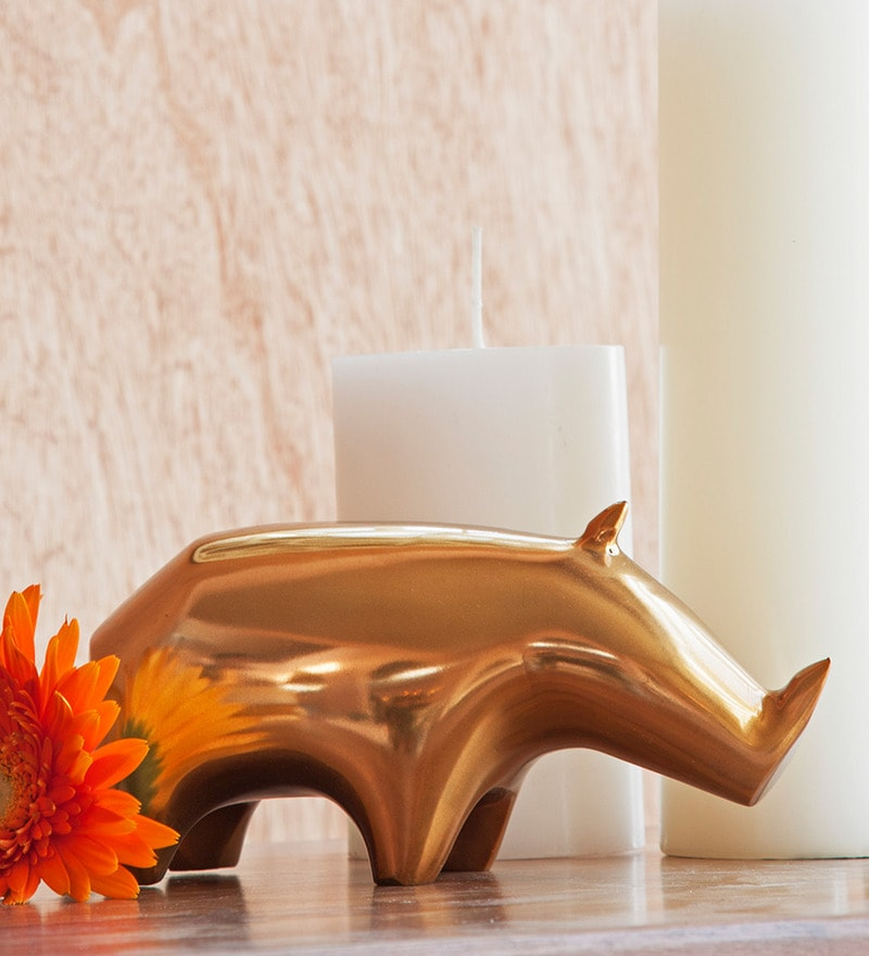 Orange Tree Golden Alluminum Rhino Table Decor