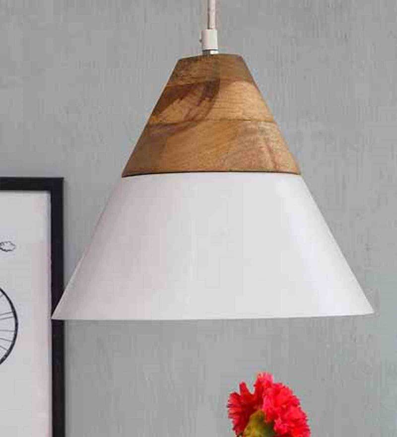 White Wood and Iron Maverick Hanging Lamp by Orange Tree