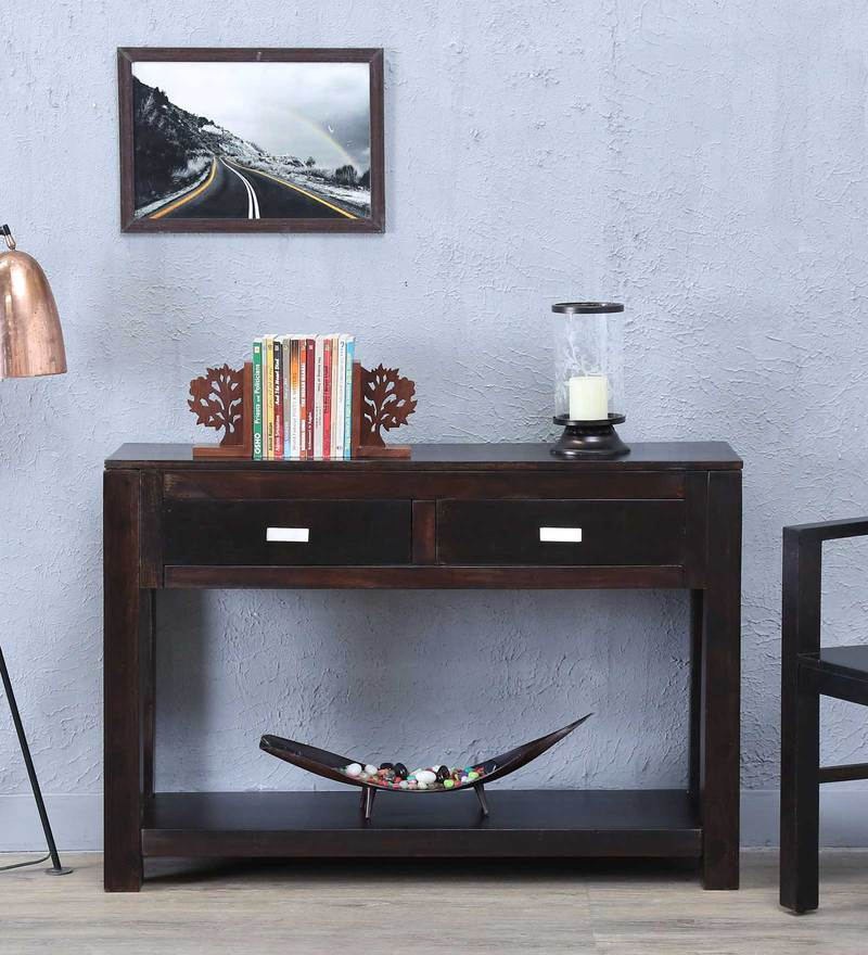 Oriel Solid Wood Console Table in Warm Chestnut Finish by Woodsworth