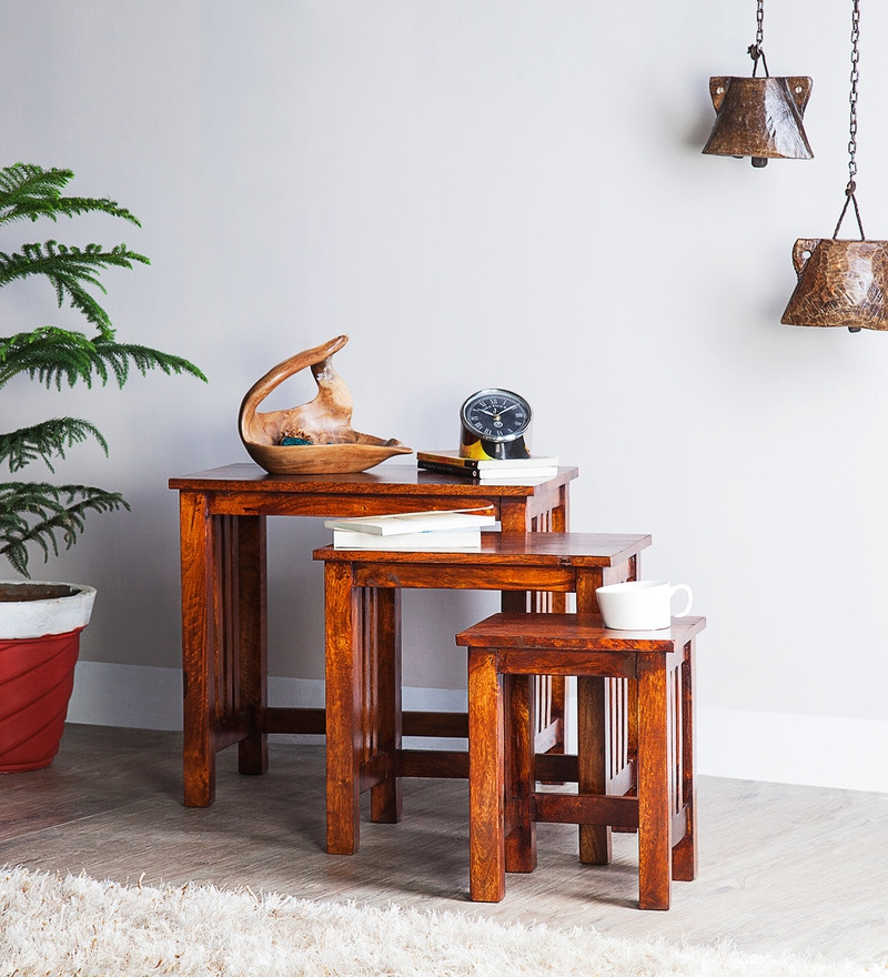 Norfolk Solid Wood Set of Tables in Honey Oak Finish by Woodsworth