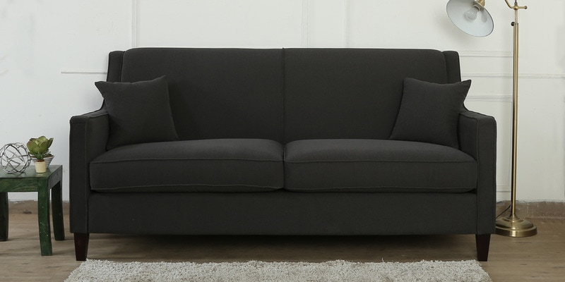 Oscar Three Seater Sofa in Charcoal Grey Colour by CasaCraft