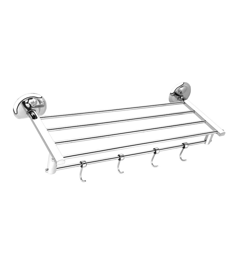 Osian Centro Series Glossy Silver Stainless Steel Towel Rack with Hook