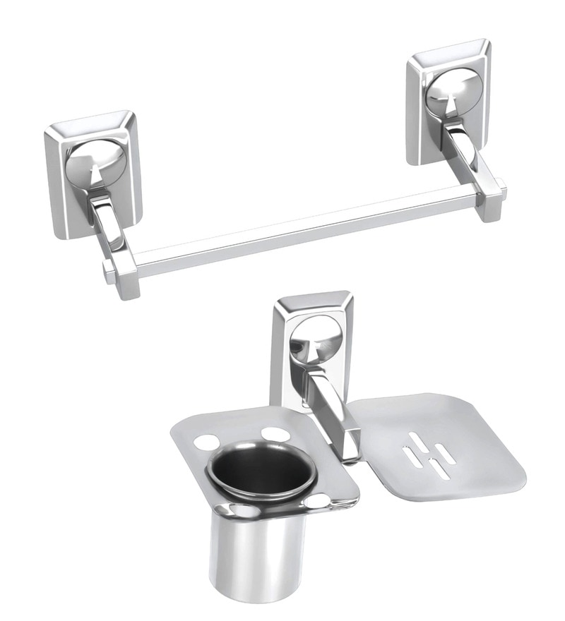 Osian Glossy Stainless Steel 2-piece Bathroom Fixture Set (Model No: O-39)