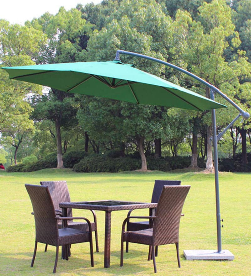 Luxury Side Pole Patio Umbrella in Green Colour by Adapt Affairs