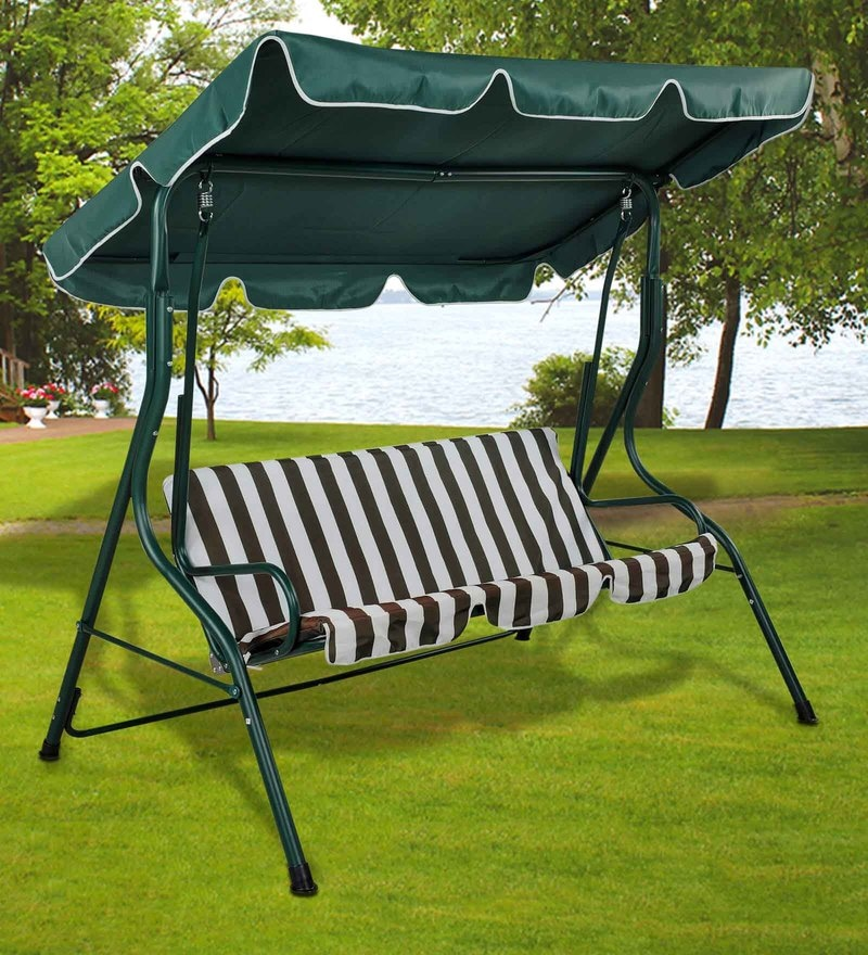 Outdoor Swing with Canopy in Green & White Colour by Royal Oak