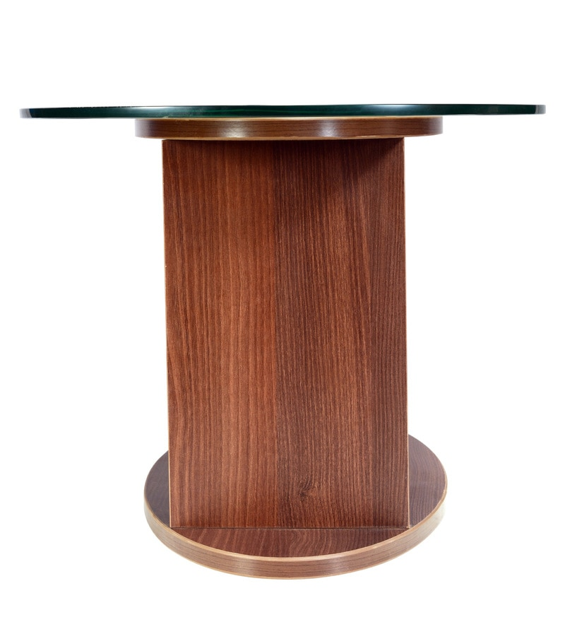 Buy Oval Shaped Glass Top Coffee Table In Walnut Finish By