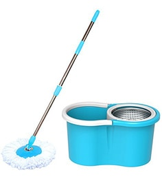 Paffy 360 Degree Magic Blue Steel Spinner Spin Mop Set