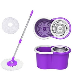 Paffy 360 Degree Magic Purple & White Steel Spinner Spin Mop Set
