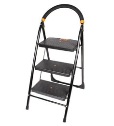 Paffy Milano Steel & Rubber 3 Steps 2.5 FT Wide Steps Folding Ladder