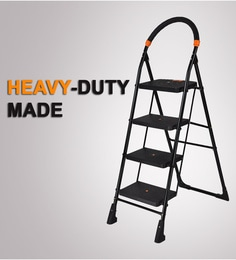 Paffy Milano Steel & Rubber 4 Steps 3.1 FT Wide Steps Folding Ladder