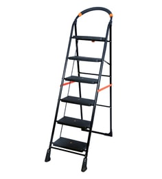 Paffy Milano Steel & Rubber 6 Steps 4.7 FT Wide Steps Folding Ladder
