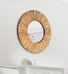 Panash Art Brown Wood And Glass Sand Art Decorative Mirror - 1605173