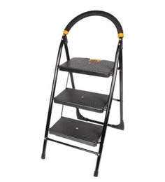 Parasnath Black Heavy Folding Ladder With Wide Steps Milano 3 Steps 3.1 Ft Ladder