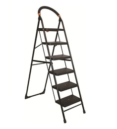 Parasnath Black Heavy Folding Ladder With Wide Steps Milano 6 Steps 6.1 Ft Ladder