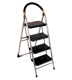 Parasnath S.S Steel Chrome-Milano Heavy Folding Ladder With Wide Steps Black Milano 4 Steps 4.1 Ft Ladder