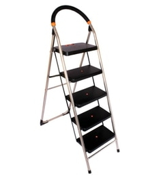 Parasnath S.S Steel Chrome-Milano Heavy Folding Ladder With Wide Steps Black Milano 5 Steps 5.1 Ft Ladder