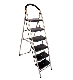 Parasnath S.S Steel Chrome-Milano Heavy Folding Ladder With Wide Steps Black Milano 6 Steps 6.1 Ft Ladder