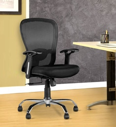 Paris Medium Back Ergonomic Chair in Black Colour by HomeTown at pepperfry