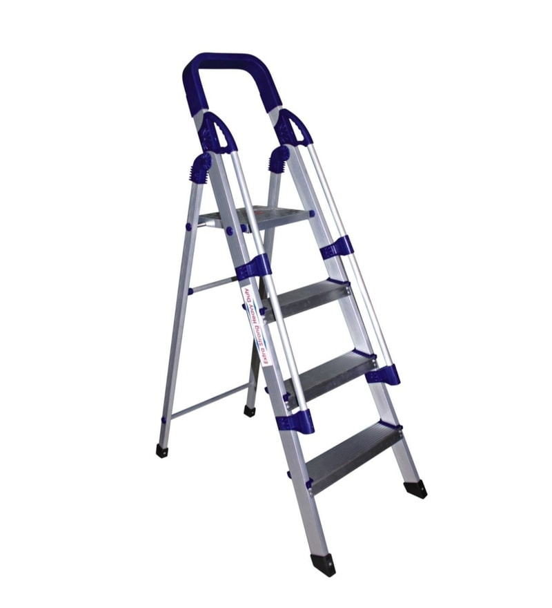 Parasnath Railing Home Pro 4 Step 4.1 Ft Light Weight Full Aluminium Heavy Duty Folding Ladder