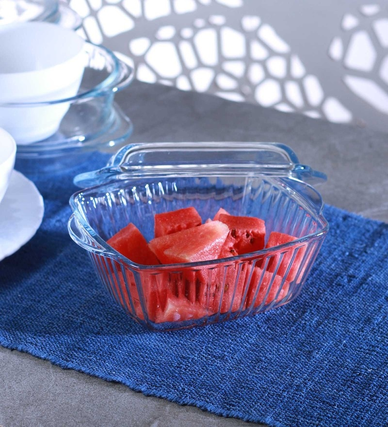 Pasabahce Borcam Glass 1170 ML Square Casserole with Lid