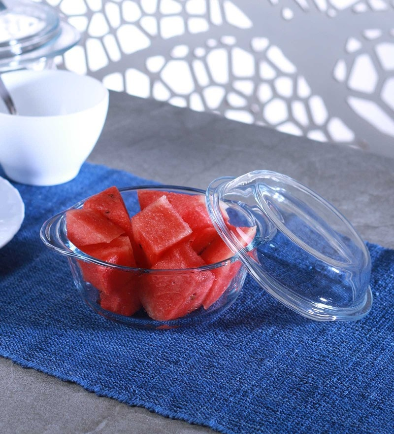 Pasabahce Borcam Glass 840 ML Round Casserole with Lid