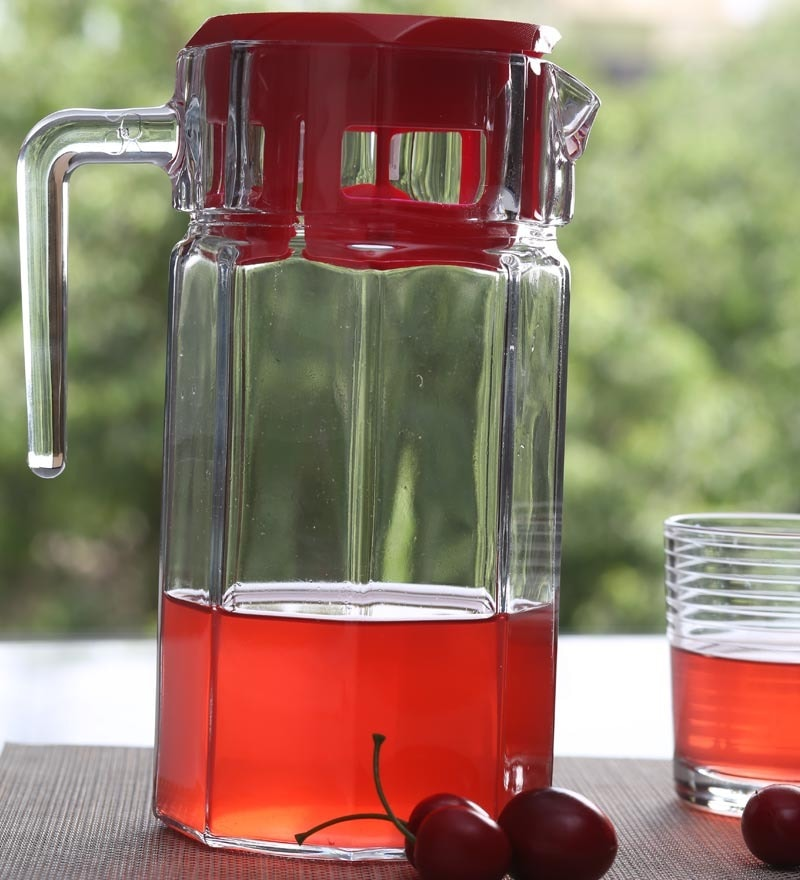Pasabahce Kosem Jug With Cover Are New Red Plastic Cover 1200 Ml