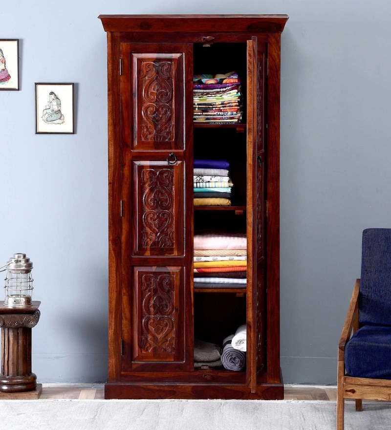 Pavana Handcrafted Wardrobe in Honey Oak Finish by Mudramark