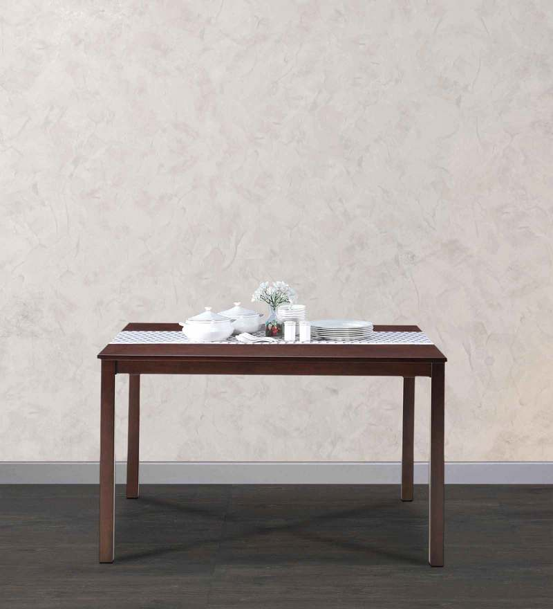 Peak Four Seater Dining Table in Brown Colour by @Home