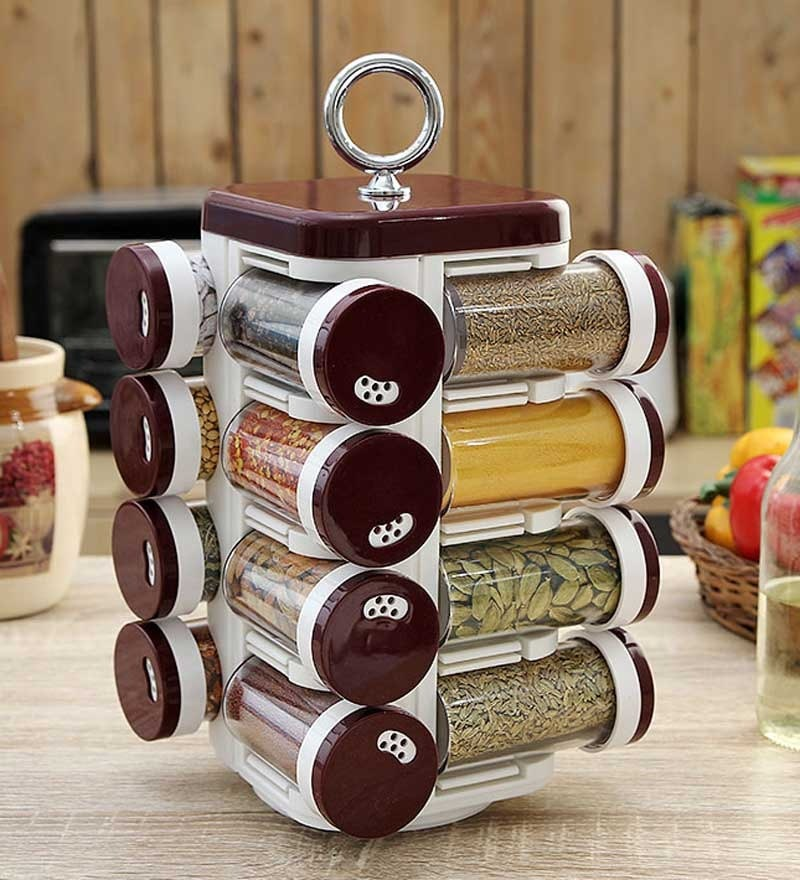 JVS Kitchen Mate Burgundy 100 ML (Each) Spice Rack - Set of 16