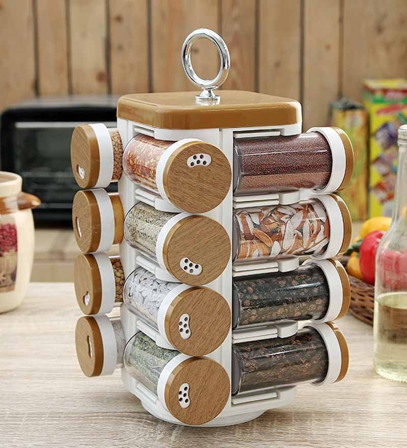 JVS Kitchen Mate Wood Finish 100 ML (Each) Spice Rack - Set of 16