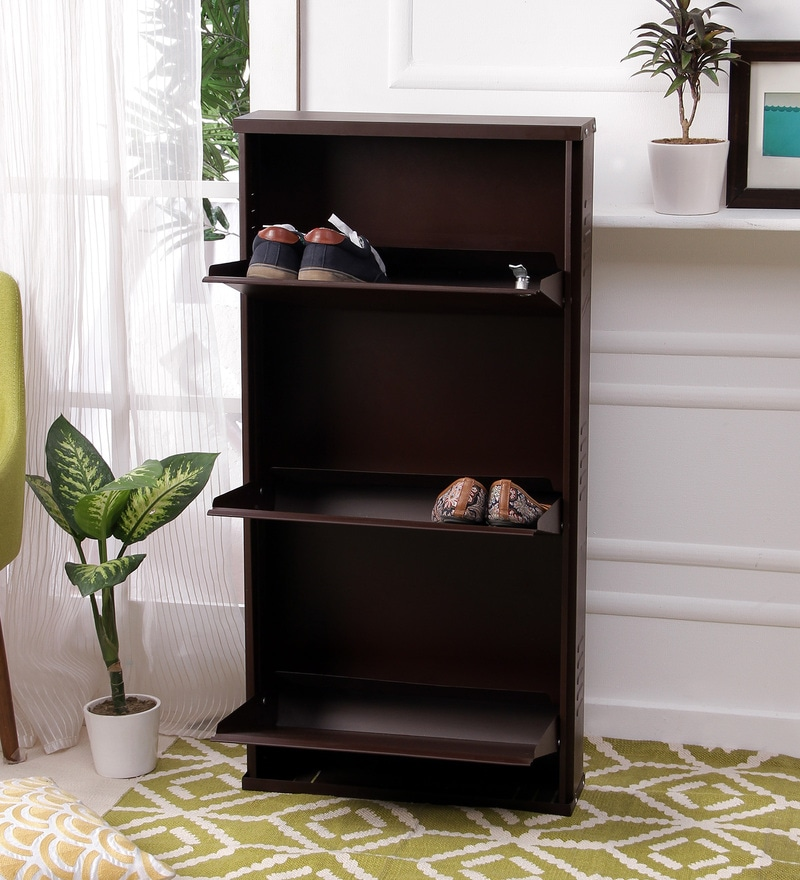 Peng Essentials Brown Steel 3 Shelves Shoe Rack