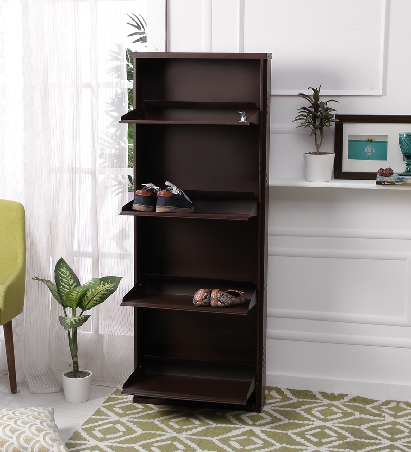 Peng Essentials Steel Brown 4 Shelves Foldable Shoe Rack