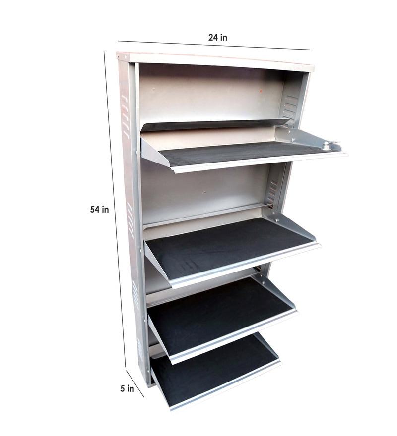 Pepperfry Kitchen Shelves: Buy Peng Essentials Steel 4 Shelves Shoe Rack Online