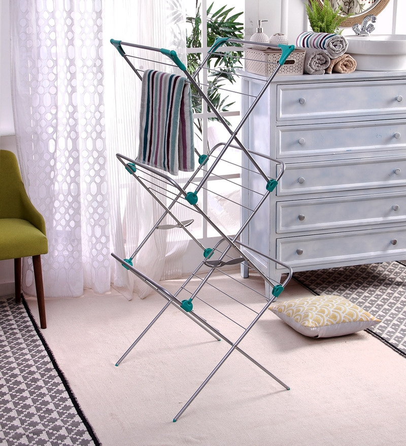 Peng Essentials Steel White & Green Venice Cloth Drying Stand