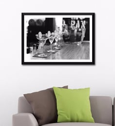Photographic Paper 24 X 16 Inch Bar Art Black And White Bar Drinks Framed Digital Art Print