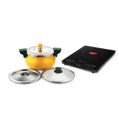 Pigeon Black Touch Panel Rapido Slim Induction Cooktop With The Combos Of Yellow Super Pressure Cooker (5 Liter)