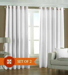 White Polyester 84 X 48 Inch Solid Eyelet Door Curtain Set Of 2