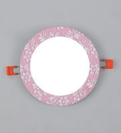 Pink Aluminium 12 W Round Slim LED Ceiling Light Pink Flower Embosed Fancy Light