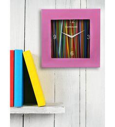 Pink MDF 12 X 12 Inch Rainbow Square Wall Clock