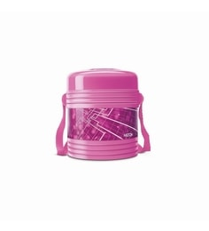 Pink Plastic & Stainless Steel Airtight Insulated Lunch Box With 2 Containers