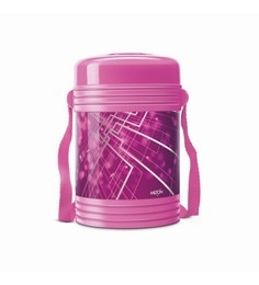 Pink Plastic & Stainless Steel Lunch Box With 4 Leak Lock Containers