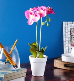 Pink PP & PVC Artificial Orchid Flower With Pot