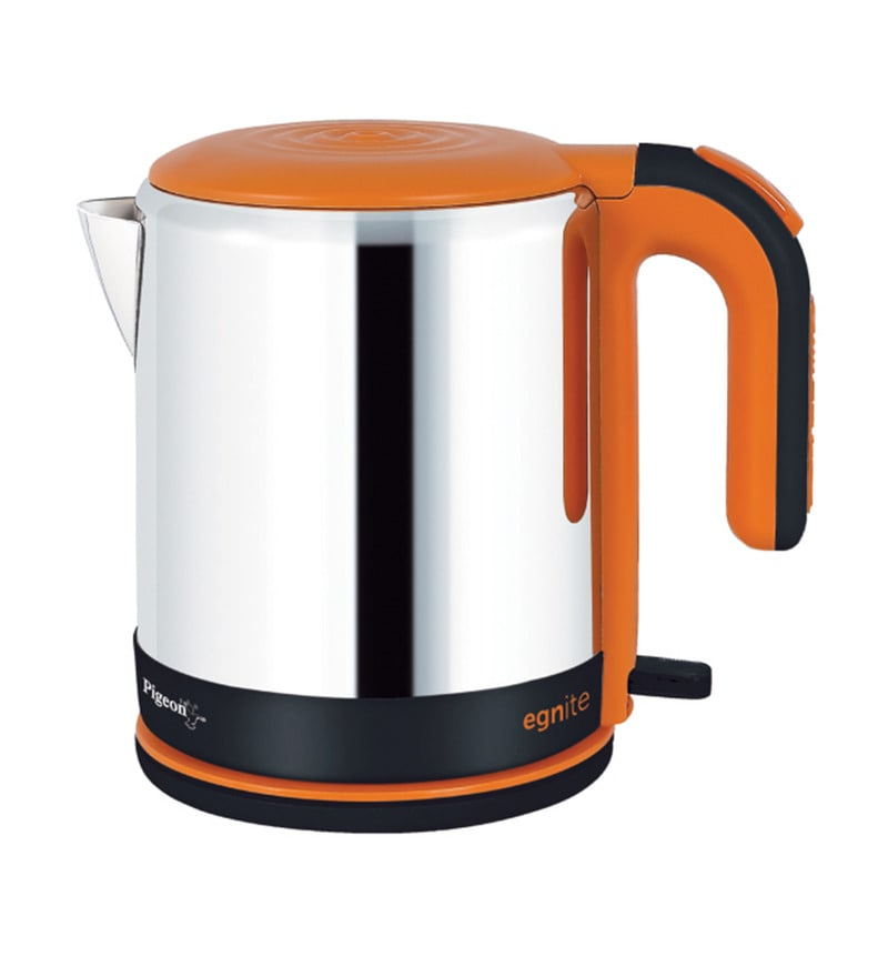 Pigeon Egnite Silver & Orange 1.2 L Cordless Electric Kettle